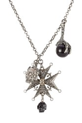 Alexander Mcqueen Crystal Embellished Charm Necklace Silver