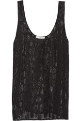 Equipment Kaylen Metallic Silk Blend Jacquard Tank Black