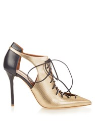 Malone Souliers Montana Metallic Leather Pumps Black Gold