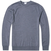 Sunspel Merino Crew Knit Jumper Mid Grey Melange