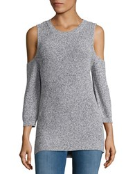 Design Lab Lord And Taylor Crewneck Cold Shoulder Sweater White Grey Twist