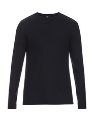 Vince Crew Neck Cotton Sweatshirt Dark Blue