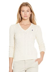 Polo Ralph Lauren Kimberly V Neck Cable Knit Jumper Cream