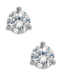 Kate Spade New York Tri Claw Stone Stud Earrings Clear Silver
