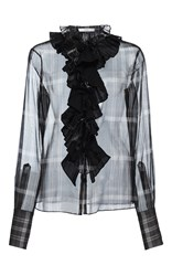 Tome Silk Organza Ruffle Collar Shirt Plaid