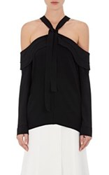 Proenza Schouler Women's Off The Shoulder Halter Tie Neck Top Black
