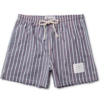 Thom Browne Short Length Striped Textured Shell Swim Shorts Blue