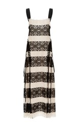 Derek Lam Lace Medallion Gown With Lacing Detail Black