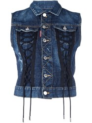 Dsquared2 Sleeveless Laced Denim Jacket Blue
