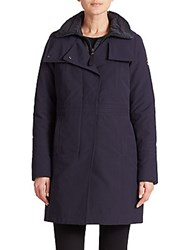 Post Card Ava Fur Trimmed Quilted Parka Blue