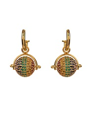Jade Jagger Multi Stone And Gold Plated Disco Ball Earrings