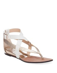 Vince Camuto Addney Strappy Leather Sandals White Gold