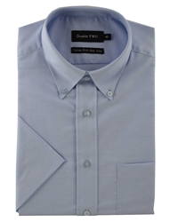 Double Two Half Sleeve Oxford Formal Shirt Blue