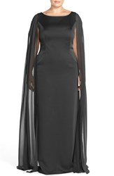 Plus Size Women's Adrianna Papell Satin Column Gown With Chiffon Cape Black