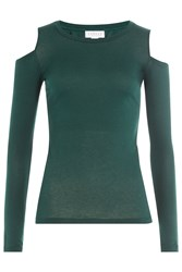 Velvet Jersey Top With Cutout Shoulders Green