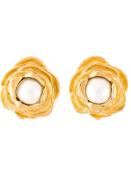 Givenchy Vintage 'Rose Shape' Clip On Earrings Metallic