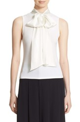 Alice Olivia Women's 'Glynda' High Neck Sleeveless Blouse With Bow Cream