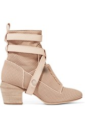 Fendi Diana Perforated Leather Ankle Boots Nude