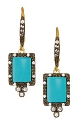 Freida Rothman 14K Gold And Rhodium Plated Sterling Silver Turquoise Stone Drop Earrings Metallic