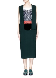Toga Archives Guipure Lace Velvet Waistband Wool Blend Dress Green