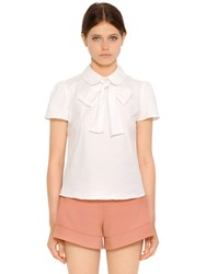 Red Valentino Stretch Cotton Poplin Shirt With Bow