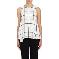 Lisa Perry Women's Windowpane Checked Crepe Swing Top White No Color White No Color