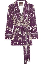Roberto Cavalli Pretty Thing Double Breasted Printed Silk Jacket Dark Purple