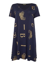 Biba Scattered Leopard Loose Jersey Tunic Navy