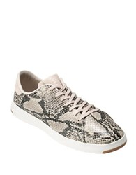 Cole Haan Grandpro Snake Print Leather Sneakers Natural Beige