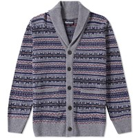 Barbour Harvard Fair Isle Shawl Cardigan Grey