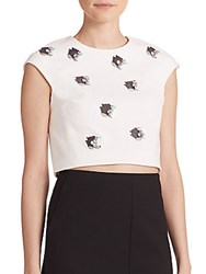 Tibi Nuage Beaded Cotton Crop Top White