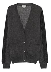 Clu Charcoal Lace Trimmed Fine Knit Cardigan