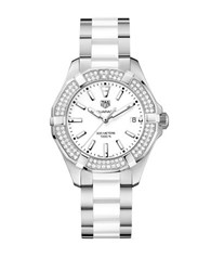 Tag Heuer Aquaracer Diamonds And Ceramic Three Row Bracelet Watch Way131fba091 White