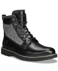 Timberland Britton Hill Leather And Tweed Boots Men's Shoes Black Leather Tweed