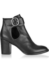 Maje Gwenaelle Buckled Leather Ankle Boots Black