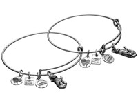 Alex And Ani Charity By Design Side By Side Set Of 2 Expandable Wire Bangles Shiny Silver Bracelet Metallic