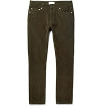 Officine Generale Slim Fit Cotton Corduroy Trousers Dark Green