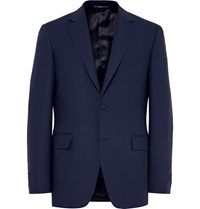 Canali Blue Slim Fit Travel Water Resistant Wool Blazer Blue