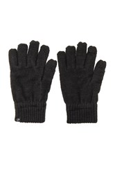 Plush Fleece Lined Metallic Smartphone Gloves Black