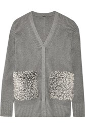 Adam By Adam Lippes Shearling Paneled Cotton Cashmere And Silk Blend Cardigan Gray