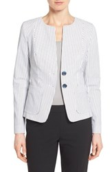 Women's Nordstrom Collection 'City Stripe' Collarless Jacket