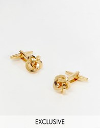 Reclaimed Vintage Knot Cufflinks In Gold Gold