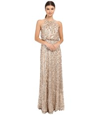 Donna Morgan Halter Sequin Toffee Women's Dress Brown