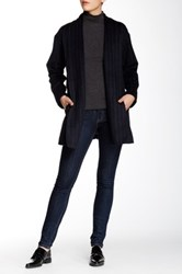 Shades Of Grey Collarless Judo Belt Wool Blend Coat Blue