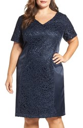 Brianna Plus Size Women's Satin And Lace Sheath Dress