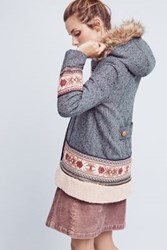 Anthropologie Embroidered Northerner Coat Sky