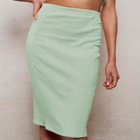 Wears London High Waisted Panelled Pencil Skirt In Pastel Mint Green