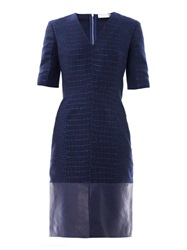 Richard Nicoll Bi Panel Leather Trim Jacquard Dress