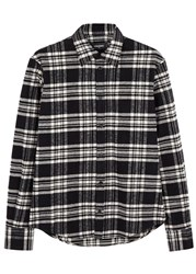 Dsquared Black Plaid Flannel Shirt Black And White