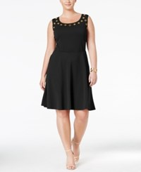 Love Squared Trendy Plus Size Grommet Trim Fit And Flare Dress Black